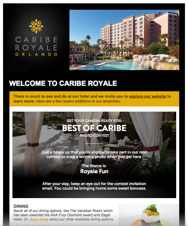 Caribe Royale Welcome Email
