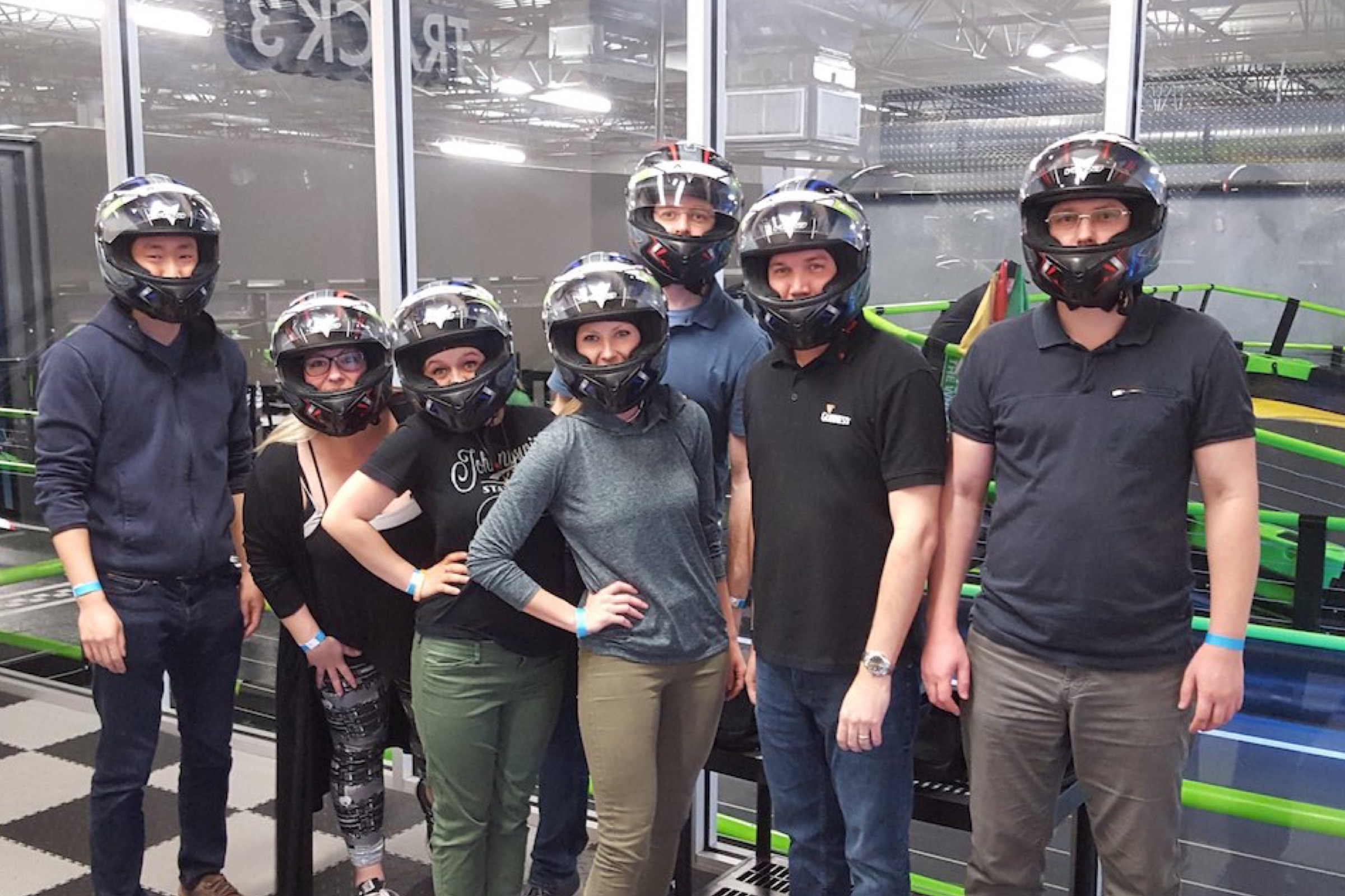 Getting ready to race electric go-karts on Friday's offsite at Andretti Indoor Karting