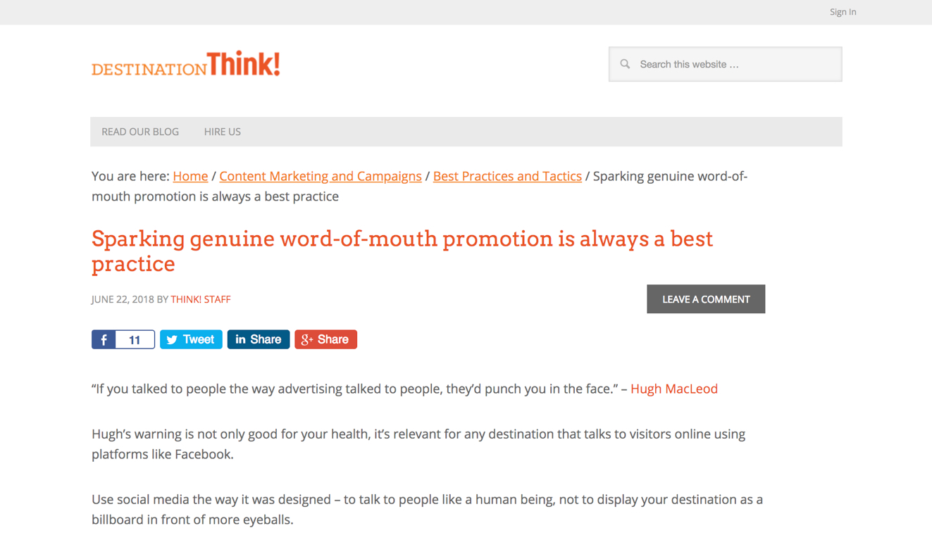 Destination Think! Sparking genuine word-of-mouth is always a best practice