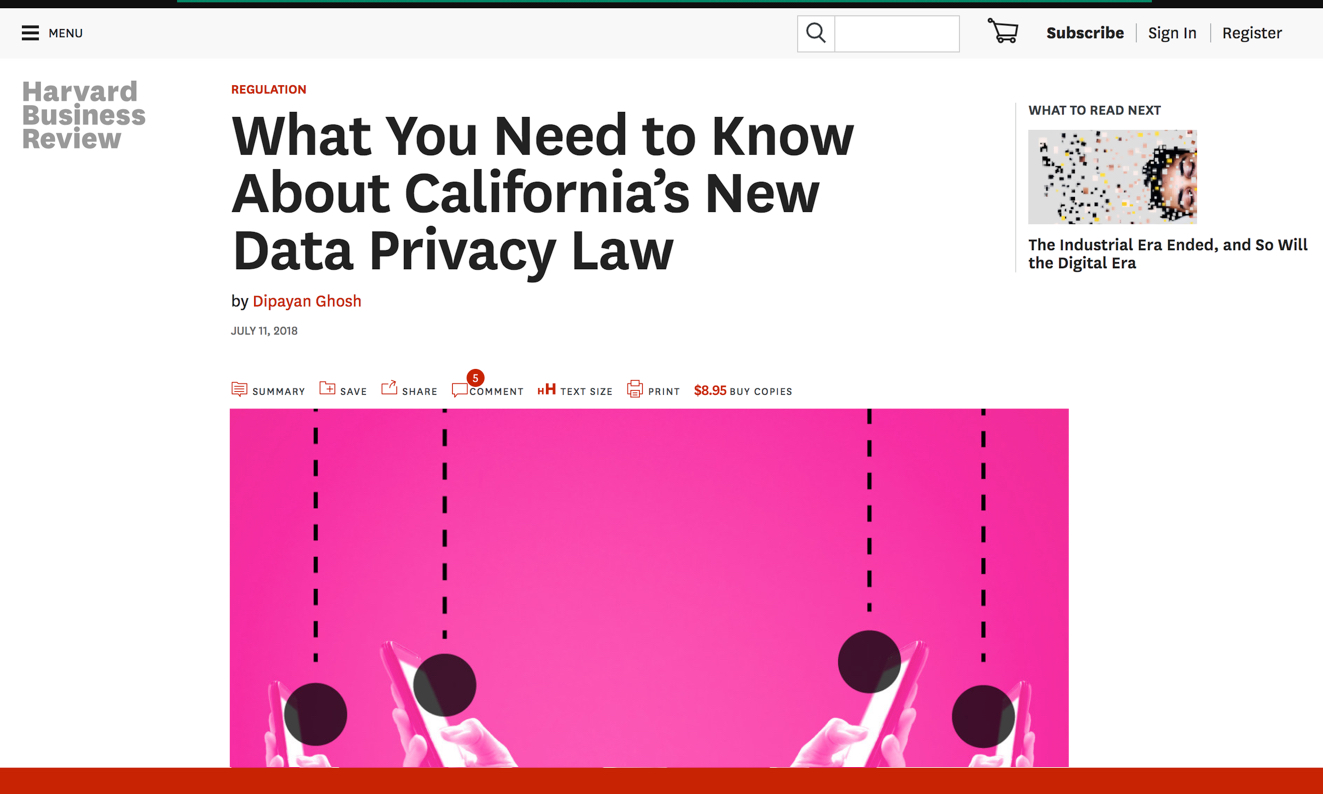 Harvard Business Review's What You Need to Know about California's New Data Privacy Law