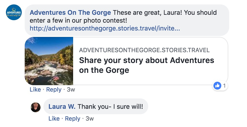 Facebook invitation by Adventure on the Gorge