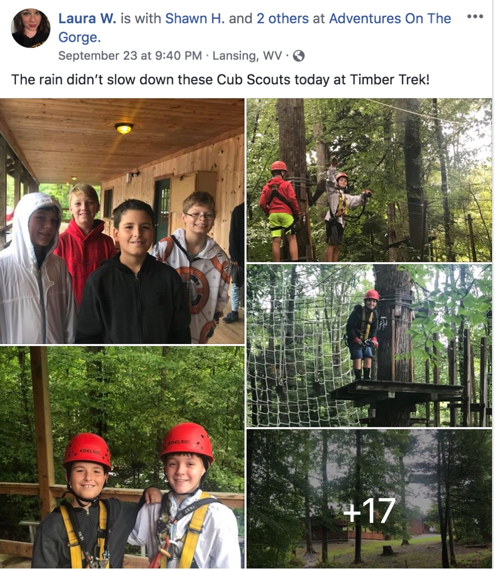 Facebook post with story from Laura W., recent traveler to Adventures on the Gorge